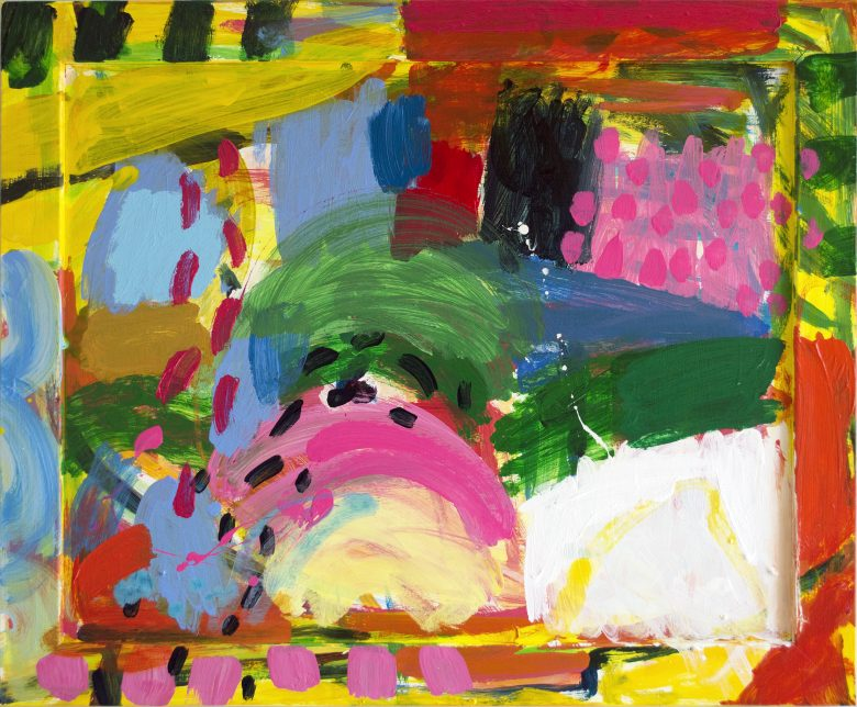 An abstract interpretation of a landscape, in pink, green and blue.